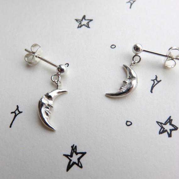 月のゆれるポストピアス S 三日月のピアス moon tiebar