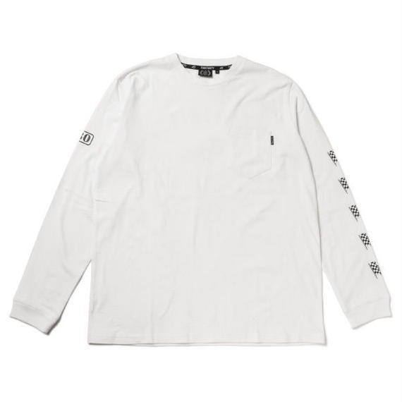 CHECKER FLAG LOGO L/S POCKET TEE WHT 1(M)