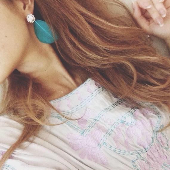 Feather bijou earrings《ターコイズ》
