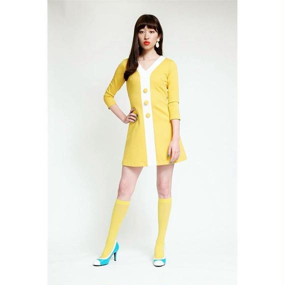 Yラインボタン七分袖ドレス-ミニ丈-