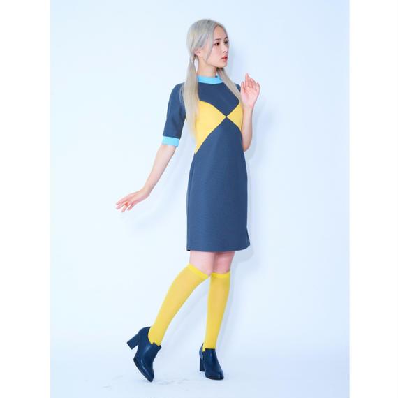 クロスカットリブミディアムドレス