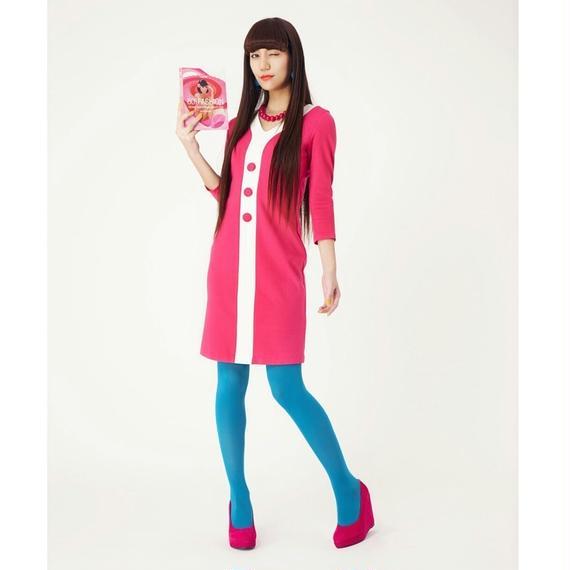 Yラインボタン七分袖ドレス-ひざ丈-