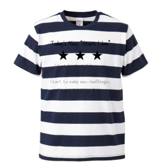 Message Border Kids T-shirt(Navy)