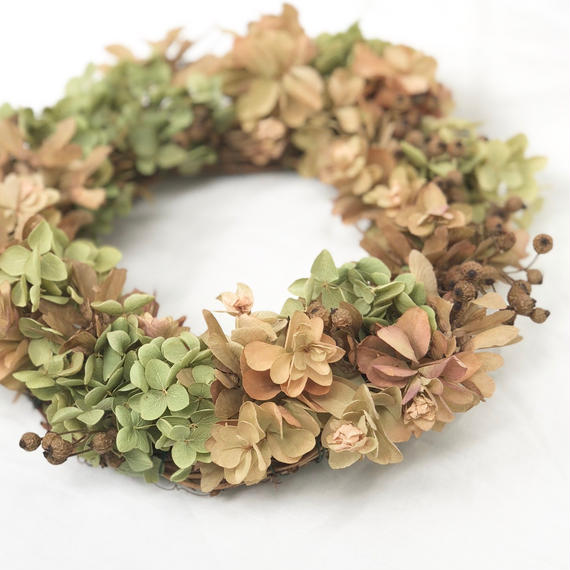 Autumn dry wreath - あじさい【 Chic & Harvest series 】