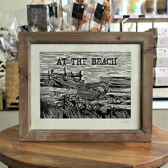 "HAND PRINTEDWOODCUT ""AT THE BEACH"""