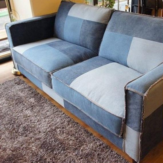 California 50's patchwork denim sofa 3p