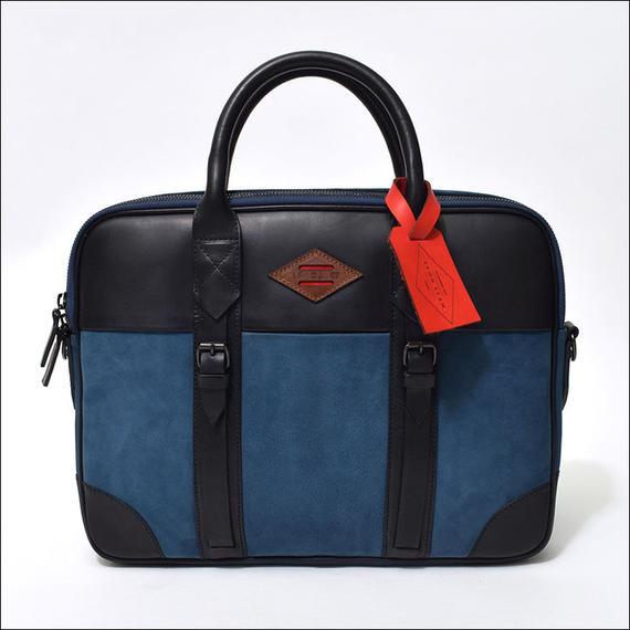 LEON FLAM(レオンフラム) PORTE DOCUMENT BLUE/NAVY(LEATHER/NUBUCK)