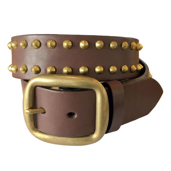 Leather Studs Belt / Brown