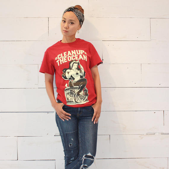 """""""Clean Up the OCEAN"""" Tee / Antique Cherry Red"""