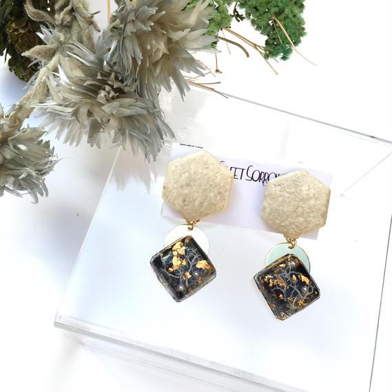 苔と大理石のアールデコ ピアス/イヤリング
