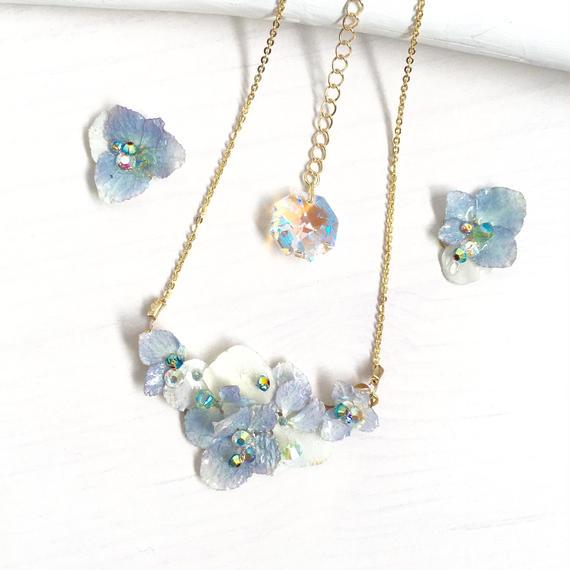 紫陽花のデミパリュール 水色×白