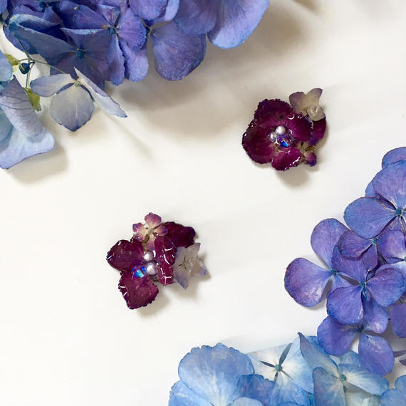 紫陽花PURPLEピアス/イヤリング