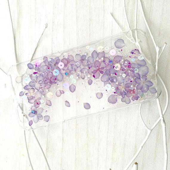 紫陽花のスマホケース/iphone各種/パープル