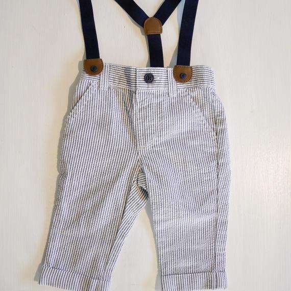 【GYMBOREE】  seersucker suspender pants