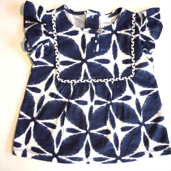 【Carter's】   navy tie flower top