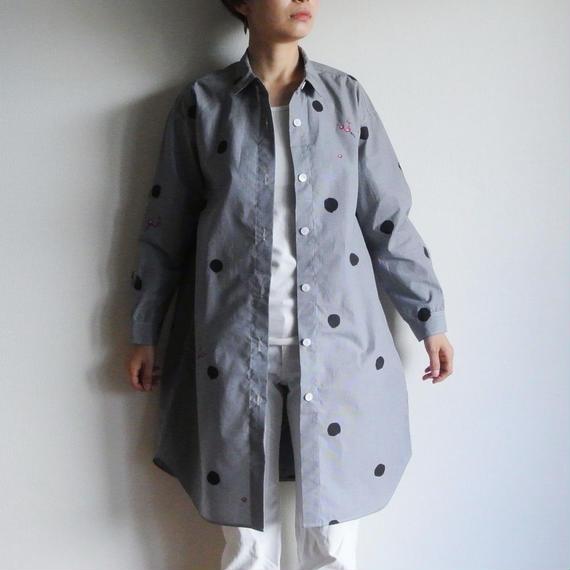 ロングシャツ ギンガムチェック黒 <水玉と梅>