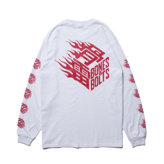 L/S TEE (FLAMES BOX LOGO) WHITE