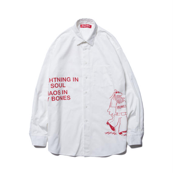 O.D. L/S SHIRT (COMING AND GOING) WHITE