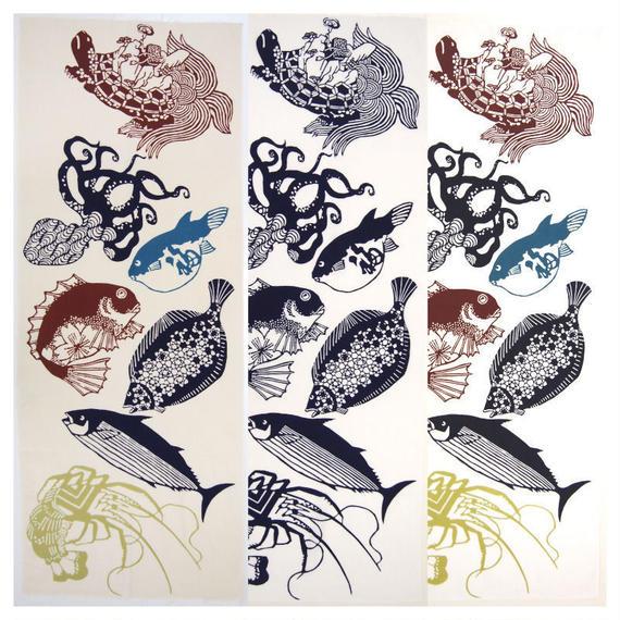 注染手ぬぐい「夏祭魚之図」小倉染色図案工房