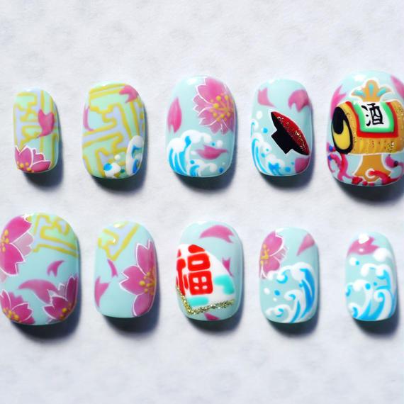ネイルチップ 奇かし「春満開」草萠ミツ