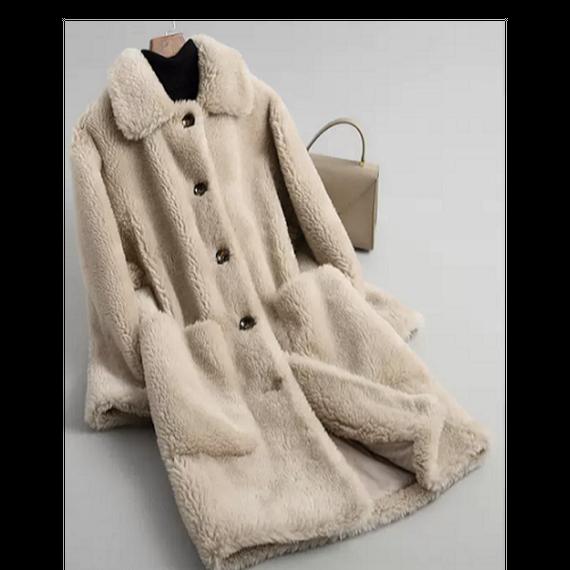 18117(ウールボア)ショール衿ロングコート