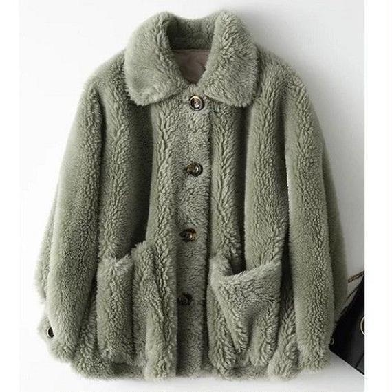 18116(ウールボア)ショール衿ショートコート