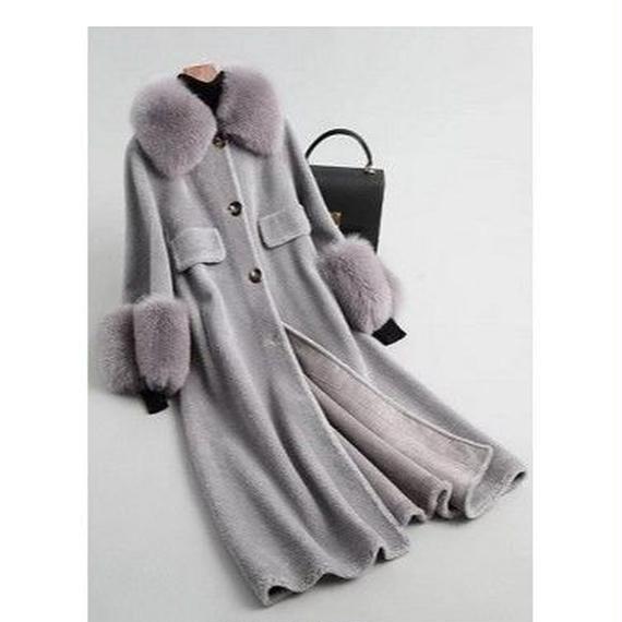 18120(ウールボア)ショール衿/袖ファー付きロングコート