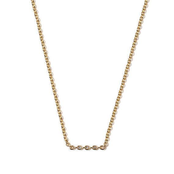 THE SETTING bar necklace 18mm / 3 diamonds