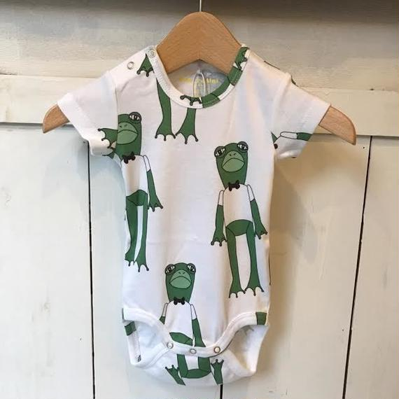 【mini rodini】 Frogs GREEN ロンパース
