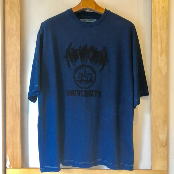 Children of the discordance タテイスカンナ紺屋別注  NEW YORK UNIVERSITY Tee  (本藍染)