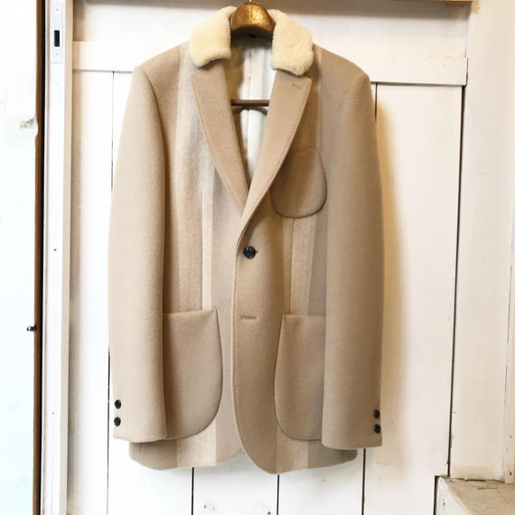 Y.O.N    Mouton collar cashmere Melton jacket