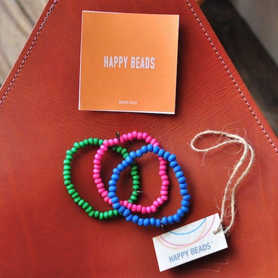 ★ HAPPY BEADS (SWEDEN) / WOOD BEADS  BRACELET (G/P/B 3本set) ★