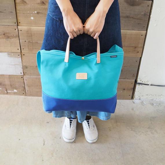 帆布ランドリーバック(水色×ブルー)