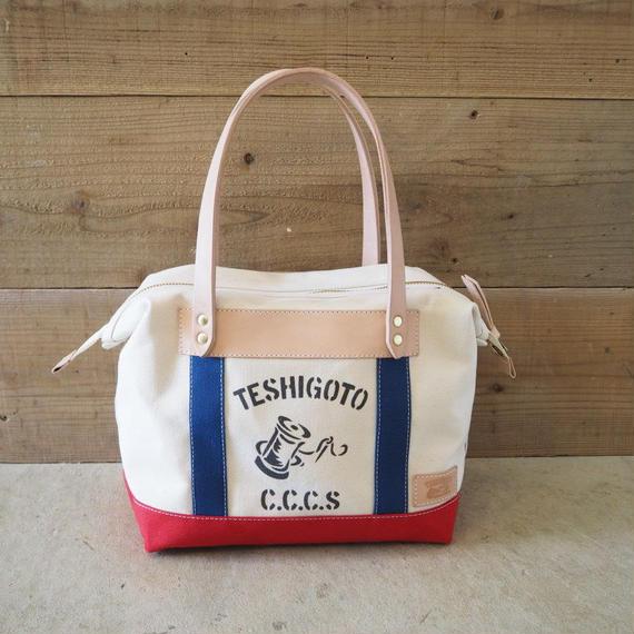 帆布トーストバッグ(ホワイト×レッド×ブルー)