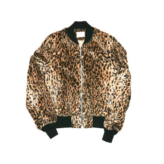 Leopard Fur Rib Blouson.