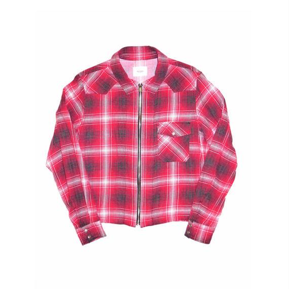 Flannel Check Western Short Zip Shirt.