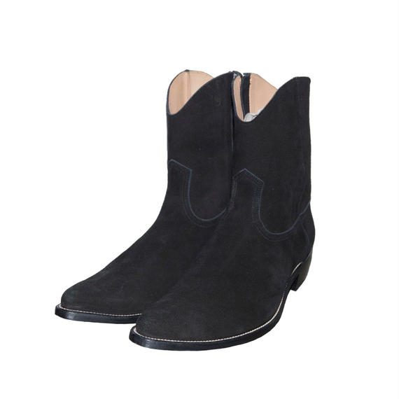 Cow Boy Suede Side Zip Pointed Boots. -Black-