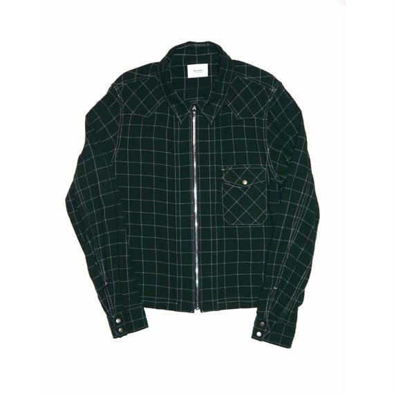 Rayon Check Western Short Zip Shirt.