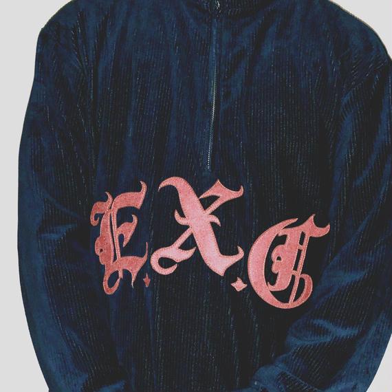 """""""CORD"""" (ハーフジップコーデュロイ/ネイビー) #EXC-LT05"""