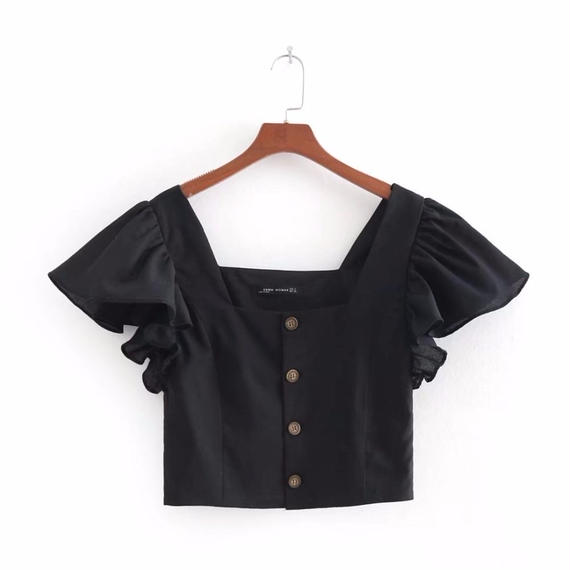 TA-015  Black Linen Square Collar Blouse