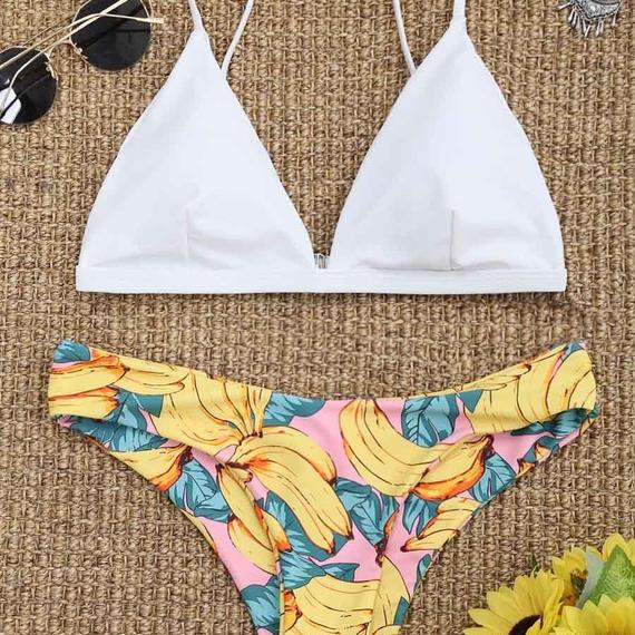 TB-091 White Pinky Banana Triangle Bikini