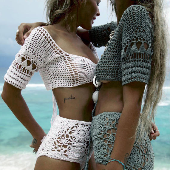 TA-006 Crochet Cropped Top