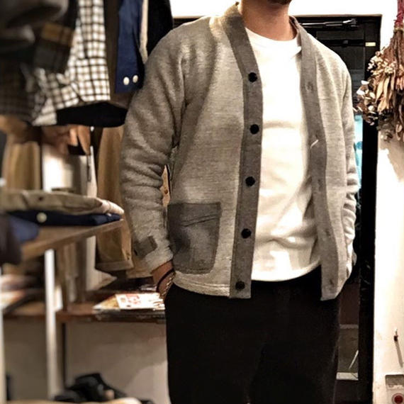 Dapper's(ダッパーズ)/ Classical Two-Pockets Sweat Cardigan/ GRAY HEATHER-BLK HEATHER