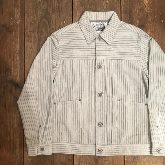 Dapper's(ダッパーズ)/Pleated Front Classic Work Jacket/WHITE-GRAY