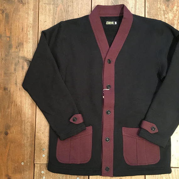 Dapper's(ダッパーズ)/ Classical Two-Pockets Sweat Cardigan/ BLACK-BORDEAUX