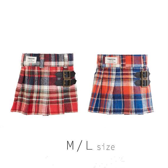 M-L チェックプリーツスカート (Red / Orange) TT104030-2