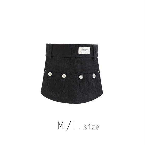 M-L カラーデニムスカート (Black) TT104029-2