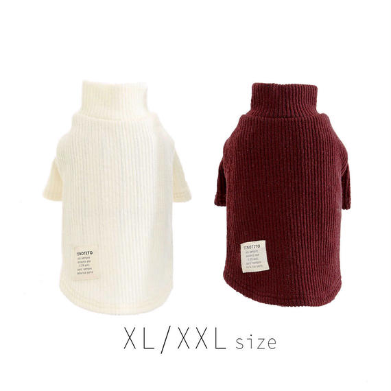XL-XXL  タートルネックセーター (White / Purple) TT102031-3
