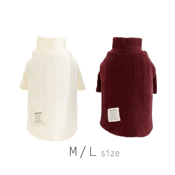 M-L  タートルネックセーター (White / Purple) TT102031-2