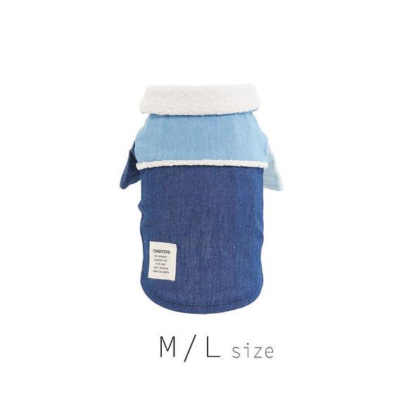 M-L ボア付きデニムシャツ (Blue) TT102026-2